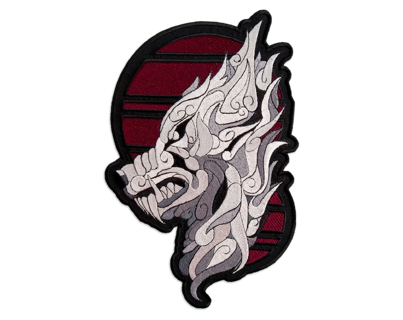 Large Embroidered Animal 2 sizes Silver Mystic Wolf Patch Iron On