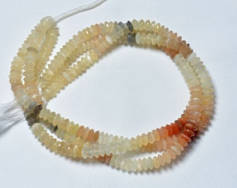 Natural Mystic Moonstone German Cut Graduated Faceted Rondelle Gemstone 17 Necklace
