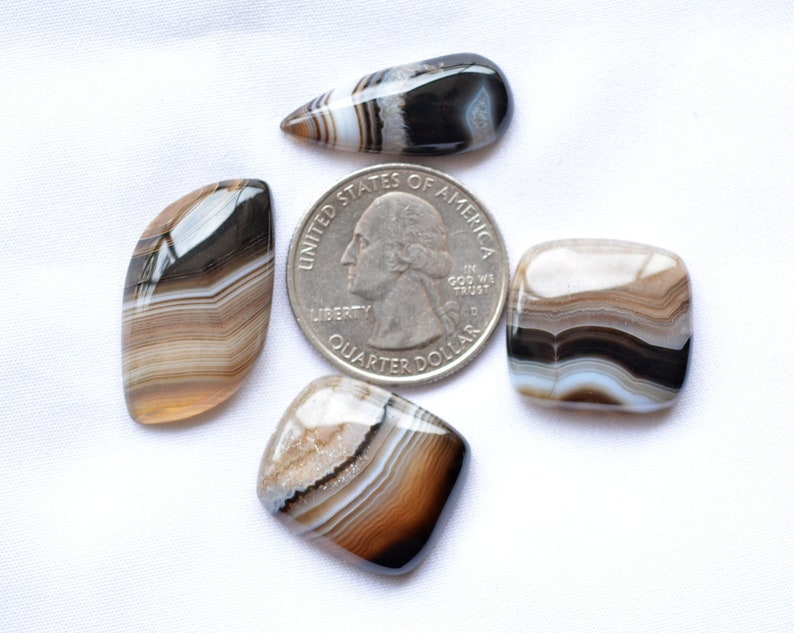 10x20 mm To 15x29 mm Banded Agate Gemstone Wholesale Lot Banded Agate Cabochons Agate Mix Shape Cabochon 4 Pcs Lot 70 Carats # C 154