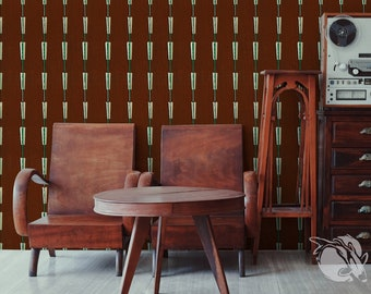 Vintage Oblong Beads Pattern Chocolate - 51 - Wallpaper Reusable, Walnut, Ivory, Boho, Wall Decor, Fine Art, Illustration Print
