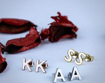 Monogram Earrings , Initial Earrings , Letter Earrings , Name Earrings , Silver Earrings , Stud Letter Earrings , Edgy Earrings , (PAIR)