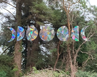 Mini Moon Phase Window Prism Set of 7 //Rainbow Sticker // Stained Glass Window film // Rainbow Window Film // Indie Room Decor Aesthetic