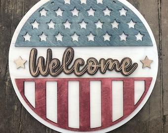 Patriotic welcome front door sign