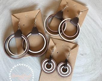 Wood earrings- two toned hoops