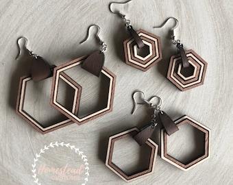Wood earrings- two toned hexagon
