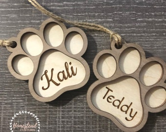 Personalized Paw Print Ornament- Dog Cat