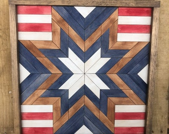 Stars and Stripes barn quilt with farmhouse style frame