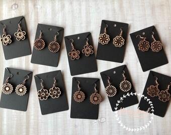 "Wood earrings- 1"" flowers"
