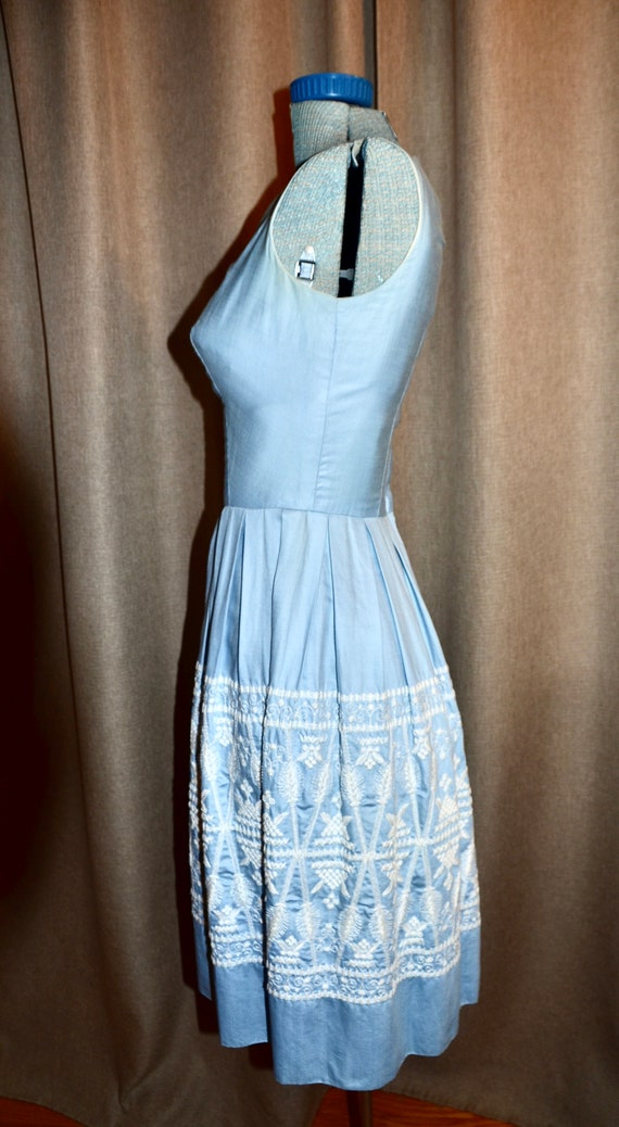 Blue Embroidered Cotton Dress 50s 60s