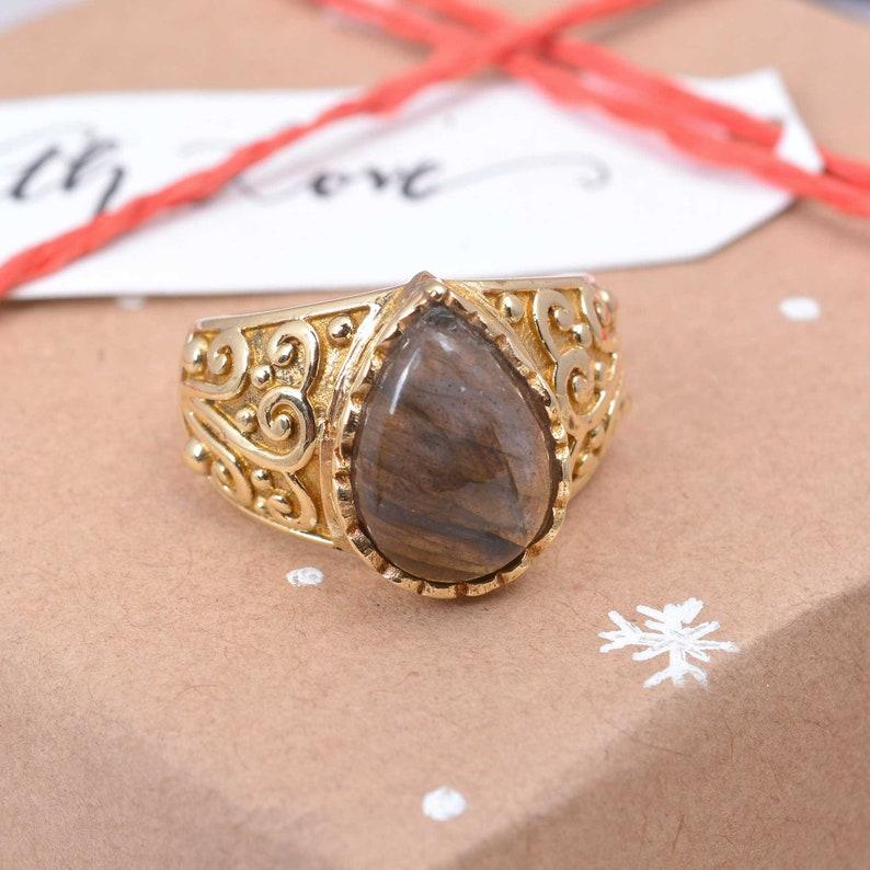 Brass ring Tiger Eye Ring Women ring Bohemian ring Gift for her. Vintage Ring Worry Ring Statement ring Handmade ring