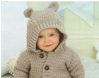 READY TO SHIP: Size 4 to 12 months Knit Baby Costume Baby Hood Halloween Baby Costume Baby Bear Hoodie Baby Bear Hat Baby Bear Cowl