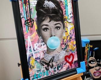 Audrey Hepburn Original Painting, Audrey Hepburn, Audrey Hepburn Pop Art, Audrey Hepburn Print, Audrey Hepburn Artwork,