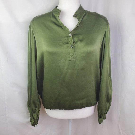 Vintage 1970's Saint Laurent 100% Silk Blouse, Pea