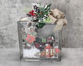Christmas decorative glass block
