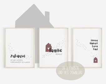 Poster - Set of 3 - Our Home - Family Poster, Download, Mural, Picture, Poster, Decoration, Gift Idea