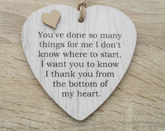 Thank You From The Bottom Of My Heart Friendship Wooden Gift Heart Plaque/Sign