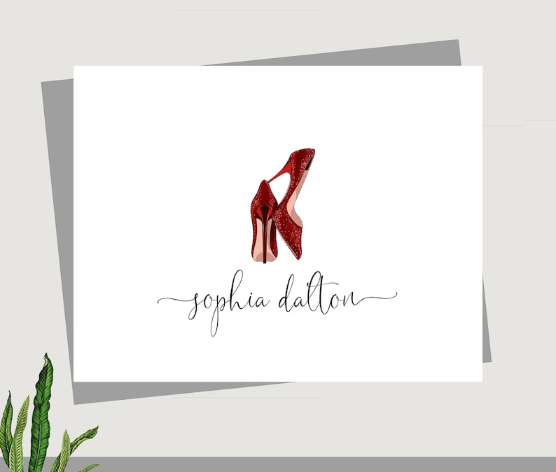 Custom Cards Feminine cards Red High Heel Cards Gifts for women Folded cards Custom Stationary Blank Cards Personalized Notecards