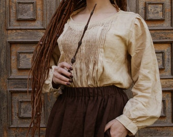 Boho Style Linen Top with Furbelow