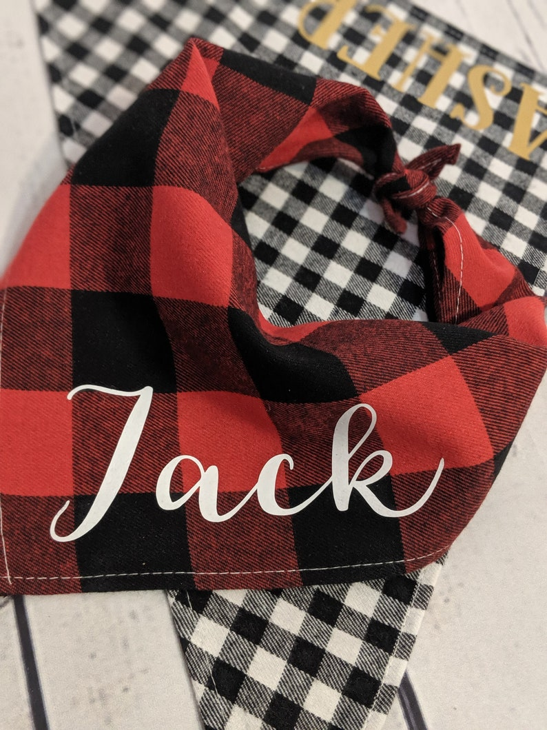 Dog Mom or Dad gift Personalized Dog Bandana Black and Red Buffalo Plaid with Pet/'s Name Tie up version Pet Mum
