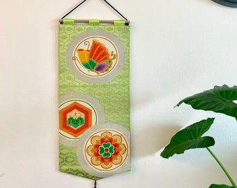 Green w/ Floral and Butterfly Obi Tapestry Wall Hanging | Up-cycled Japanese Obi Wall Decor | Tapestry Wall Decor | Decorative Wall Hanging