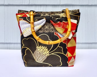 Red, Black and Gold Tsubaki Medium Obi Tote | Japanese |  | Gifts for her | Gifts for Mom | Upcycled fashion | lightweight