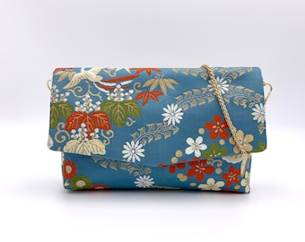 Paulownia and Phoenix Fold-top Clutch w/ Chain |  | Gift for Her | Gift for mom | Japanese Obi | Upcycled fashion | Handbag |
