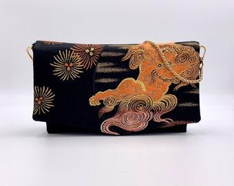 Japanese Lion Dog Fold-top Clutch w/ Chain |  | Gift for Her | Gift for mom | Japanese Obi | Upcycled fashion | Fu dog | Shisa | Komainu