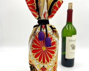 Red. Black & Gold l Obi Wine Covers | Wine Bottle Cover | Gifts for Him | Father's Day | Japanese Home decor | Wine Bottle Centerpiece