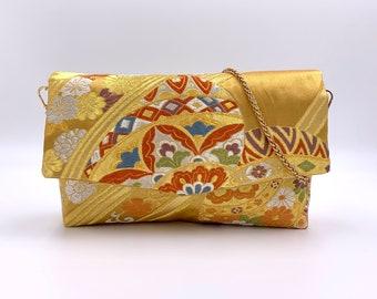 Gold Temari Fold-top Clutch w/ Chain |  | Gift for Her | Gift for mom | Japanese Obi | Upcycled fashion | Temari | Japan | Handbag