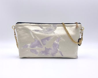 White and silver Zip-top Clutch w/ Chain |  | Gift for Her | Gift for mom | Japanese Obi | Upcycled fashion | tsuru | Crane