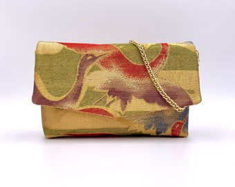 Gold and Rainbow Crane Fold-top Clutch w/ Chain |  | Gift for Her | Gift for mom | Japanese Obi | Upcycled fashion | Handbag |