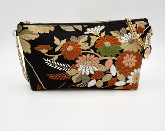 Black and Floral Zip-top Clutch w/ Chain |  | Gift for Her | Gift for mom | Japanese Obi | Upcycled fashion | chrysanthemum |