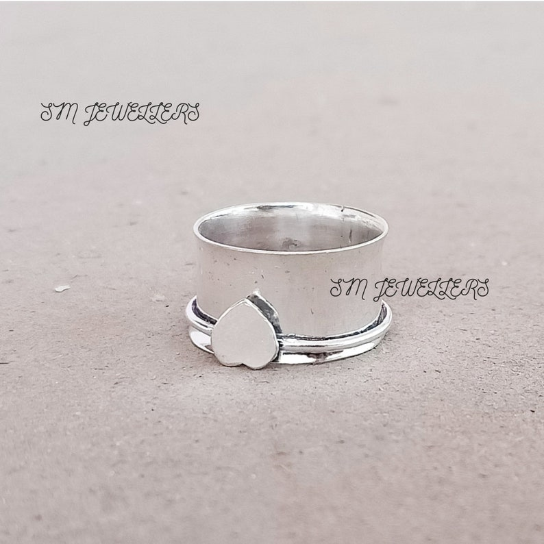 Heart Spinner Ring-925 Sterling Silver Spinner Ring-Anxiety Ring-Heart Ring-Lovers Ring-Single Spinner Ring-Silver Handmade Women Jewelry S8