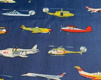 1/2 Yd Daisy Kingdom Flying Machines Airplane Cotton Fabric G4