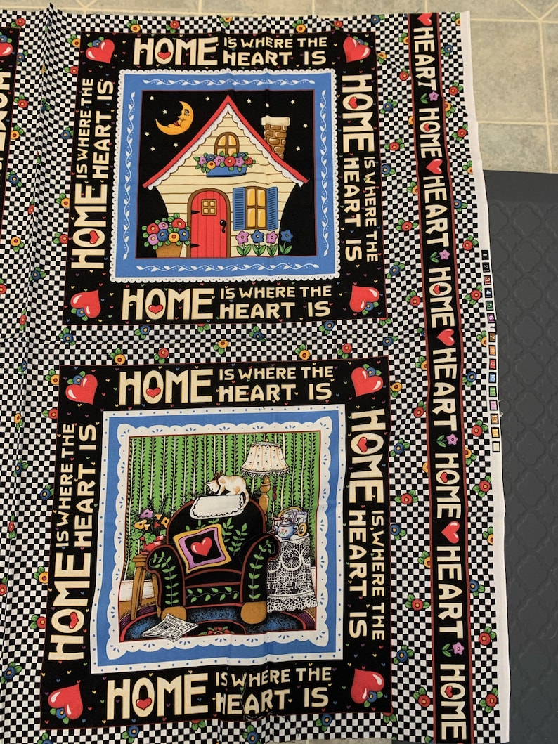 Mary Engelbreit Home Is Where The Heart Is Fabric Pillow Quilt Two Squares