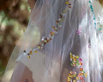 Beaded Rainbow Wedding Veil