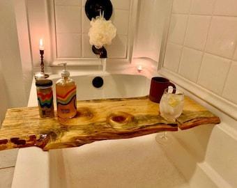 Live edge bathtub tray | Wood Bath Caddy | Customizable Bath Tray | Bath Board | Holiday Gift | Gift for Her | FREE Shipping