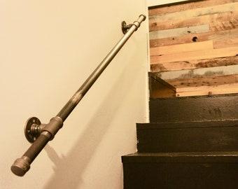 Industrial Pipe Railing | Metal Stair Railing | Farmhouse Handrail | Free Shipping