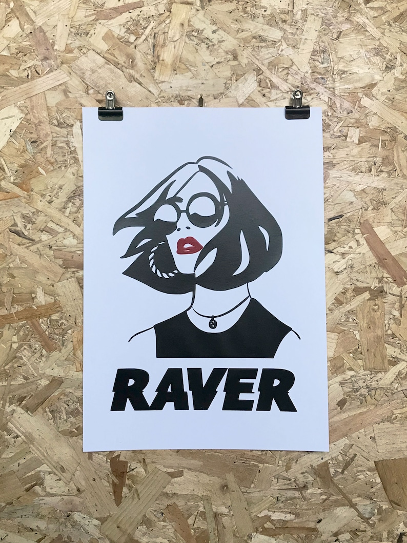 Raver A3 Music Print  Drum and Bass  DnB  Jungle  Acid image 0