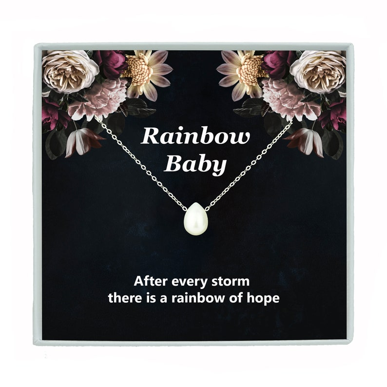 Rainbow Baby Gift Necklace Real Fresh Water Pearl Jewelry Rainbow Baby Shower Pregnancy New Mom Necklace