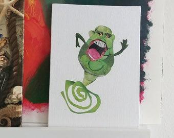 Slimer Ghostbusters- Slimer Decor- Slimer Decoration- Ghostbusters Decor- Halloween Decor- Halloween Art- Halloween Slimer- Hand Made Art-