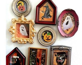 Halloween Magnets- Halloween Art- Halloween Decor- Halloween Fridge Magnets- Halloween Frames- Halloween Vintage Decor- Vintage Magnet