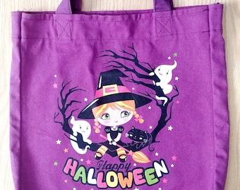 Halloween Bag- Halloween Book Bag- Halloween Trick or Treat Bag- Trick or Treat Tote Bag- Halloween Canvas Bag- Halloween Tote Bag-