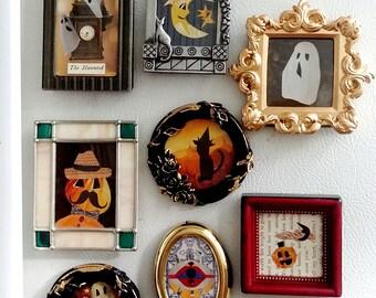 Halloween Magnet- Halloween Decorations- Halloween Fridge Magnets- Halloween Decor Frames- Halloween Vintage Decor- Vintage Magnets