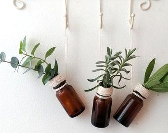 Bottle Ornament- Essential Oil Bottle- Vase Ornament- Mini Vase- Wellness Gift- Minimalist Decor- Boho Decor- Boho Ornament- Glass Bottle-