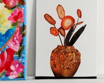 Art Gift- Home Gift- Art Decor- Mantle Art- Ledge Art- Handmade Art- Autumn Art- Fall Art- Abstract Art- Collage Art- Home Decor-