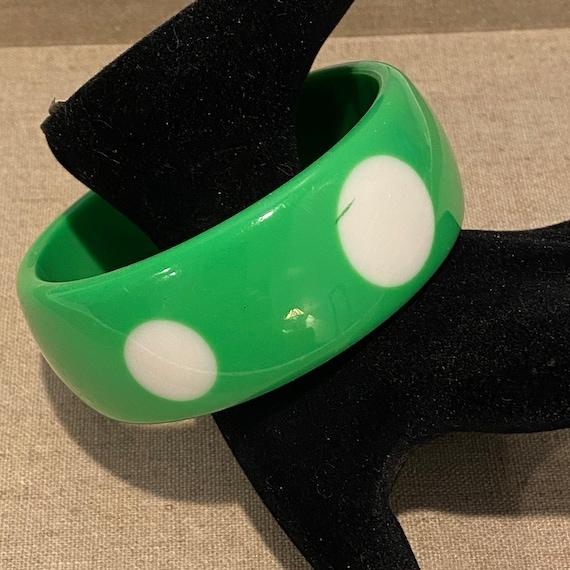 Vintage Lime Green Polka Dot Lucite Bangle Bracelet
