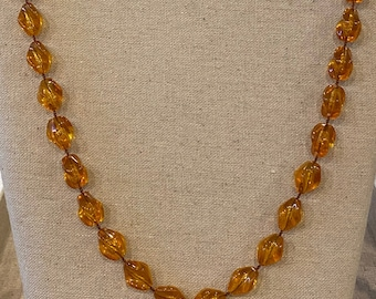 Vintage Signed Sarah Coventry Plastic Amber Colored Beaded Necklace