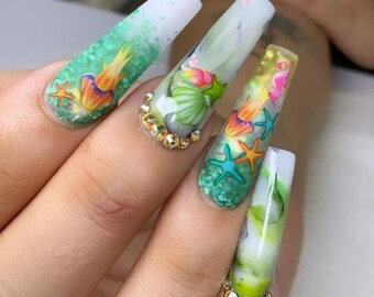 Mermaid Nails Etsy