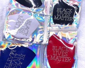 Iced Black Lives Matter Rhinestone  Mask